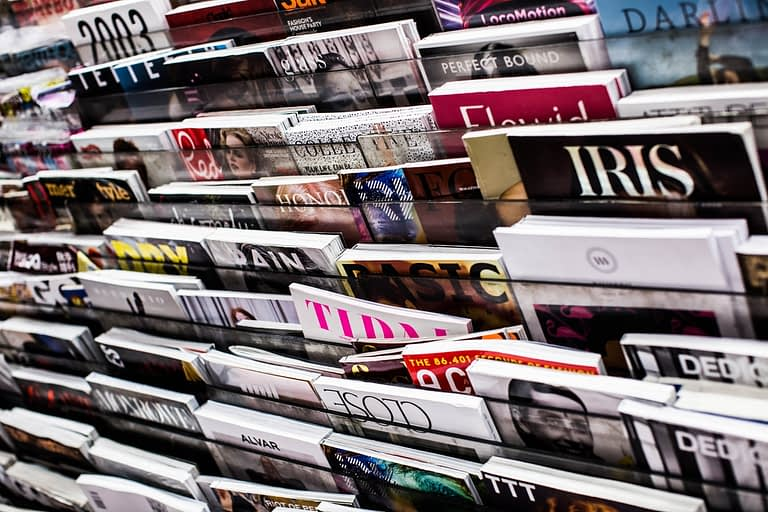 Magazines at a news stand