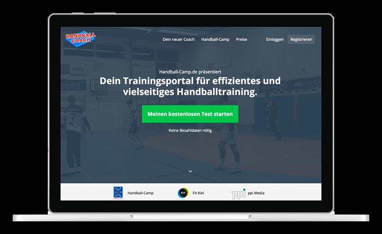 Screenshot Handball-Coach Landingpage